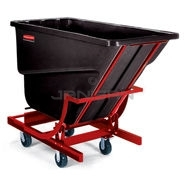 "Rubbermaid 1054-43 Self-Dumping Hopper with four 6"" dia. Polyolefin Casters - 55\"" L x 26.25\"" W x 47.63\"" H - 1/2 cu yd - 750 lb. capacity"