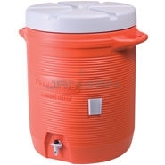 "Rubbermaid 161001 Insulated Beverage Container, Orange - 16"" L x 16\"" W x 20.5\"" H - 10 gallon capacity"