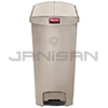 Rubbermaid 1883553 Slim Jim Plastic End Step-On Receptacle - 24 Gallon Capacity - Beige in Color