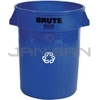"Rubbermaid 2632-73 BRUTE Recycling Container without Lid - 32 Gallon Capacity - 22"" Dia. x 27.25"" H"