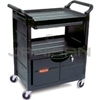 "Rubbermaid 3457 Utility Cart with Lockable Doors, Sliding Drawer and 4"" dia Swivel Casters - 33.63"" L x 18.63"" W x 37.75"" H - 200 lb capacity"