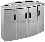 "Rubbermaid 3486013 Element 4-Stream Paper/Bottles/Trash/Cans Locking Recycling Station - 57 Gallon Capacity - 48 1/2"" L x 18 1/2"" W x 37 1/8"" H - Silver Metallic in Color"