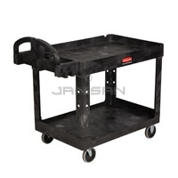 "Rubbermaid 4520-88 2 Shelf Utility Cart - 45.25"" L x 25.88\"" W x 33.25\"" H - 500 lb capacity - Black in Color"