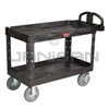 "Rubbermaid 4546-10 2 Shelf Utility Cart with Pneumatic Casters - 55"" L x 26"" W x 33.25"" H - 750 lb capacity"