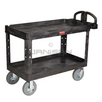 "Rubbermaid 4546-10 2 Shelf Utility Cart with Pneumatic Casters - 55"" L x 26\"" W x 33.25\"" H - 750 lb capacity"