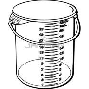 "Rubbermaid 5729 Round Storage Container with Bail - 13.13"" Dia. x 14\"" H - 22 qt. capacity - White"