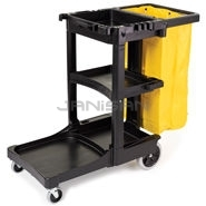 Rubbermaid 6173-88 Cleaning Cart with Zippered Yellow Vinyl Bag