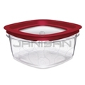 "Rubbermaid 7H78TR Premier Small Capacity Storage Container with Lid - 9.44"" Sq. x 3.31"" H - 9 cup capacity"
