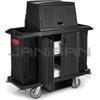 Rubbermaid 9T19 Full Size Housekeeping Cart with Doors, Vinyl Bag, Bumpers, Vacuum Holder, Under Deck Shelf and Hood