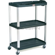 "Rubbermaid 9T33 Audio-Visual Cart, Open Cart with 3 Shelves, 4"" dia Casters - 36.5\"" L x 20\"" W x 48.13\"" H - 300 lb capacity - 32\"" Max TV Size"