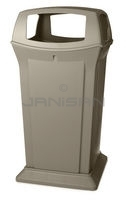 "Rubbermaid FG917600BEIG 65 Gallon Ranger Container with 4 Openings - 24.88"" Sq. x 49.25\"" H - Beige in Color"
