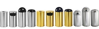 Rubbermaid / United Receptacle Metallic Designer Line Garbage Cans, Trash Containers, Waste Receptacles, Sand Urns & Wastebaskets