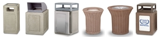 Rubbermaid / United Receptacle Keystone Series Trash Cans & Sand Urns