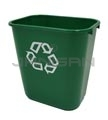 "Rubbermaid FG295606GRN Deskside Recycling Container, Medium with Universal Recycle Symbol - 28 1/8 Quart Capacity - 14.38"" L x 10.25"" W x 15"" H"