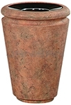 "Rubbermaid / United Receptacle FGFGK2433PLWTRC Milan Collection Tuscan Open Top Waste Receptacle - 21 Gallon Capacity - 24"" Dia. x 33"" H - Weathered Terra-Cotta in color"