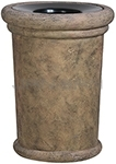 "Rubbermaid / United Receptacle FGFGK2836PLBISQ Milan Collection Portofino Fiberglass Open Top Waste Receptacle - 37 Gallon Capacity - 27 1/2"" Dia. x 36 1/4"" H - Bisque in color"