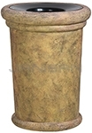 "Rubbermaid / United Receptacle FGFGK2836PLSAH Milan Collection Portofino Fiberglass Open Top Waste Receptacle - 37 Gallon Capacity - 27 1/2"" Dia. x 36 1/4"" H - Sahara in color"