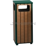 "Rubbermaid / United Receptacle R14-50 Regent Series Waste Receptacle - 12 Gallon Capacity - 13.5"" Sq. x 32"" H - Empire Green with Perma-Wood Cedar Slats"