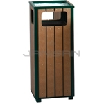 "Rubbermaid / United Receptacle R14SU50 Regent Series Sand Urn/Litter Receptacle - 12 Gallon Capacity - 13.5"" Sq. x 32"" H - Empire Green with Perma-Wood Cedar Slats"