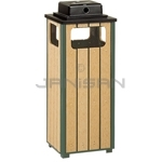 "Rubbermaid / United Receptacle R14WU50 Ash/Trash Weather Urn - 12 Gallon Capacity - 13.5"" Sq. x 32"" H - Empire Green with Perma-Wood Slats"