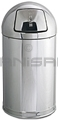 "Rubbermaid / United Receptacle R1530MC Metallic Designer Line Bullet Trash Can - 12 Gallon Capacity - 15"" Dia. x 30"" H - Disposal Opening is 8"" W x 7"" H - Mirror Chrome"