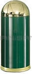 "Rubbermaid / United Receptacle R1536-10G European Designer Line Round Top Receptacle - 15 Gallon Capacity - 15"" Dia. x 36"" H - Disposal Opening is 8"" W x 7"" H - Empire Green Body with Brass Accents"