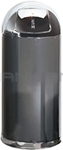 "Rubbermaid / United Receptacle R1536-20A European Designer Line Round Top Receptacle - 15 Gallon Capacity - 15"" Dia. x 36"" H - Disposal Opening is 8"" W x 7"" H - Anthracite Body with Chrome Accents"