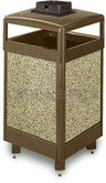 "Rubbermaid / United Receptacle R36HTWU Aspen Series Waste Receptacle with Hinged Top and Weather Urn - 29 Gallon Capacity - 21"" Sq. x 46"" H"