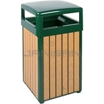 "Rubbermaid / United Receptacle R34HT50 Regent Series Hinged Top Waste Receptacle - 29 Gallon Capacity - 21"" Sq. x 37"" H - Empire Green with Perma-Wood Cedar Slats"