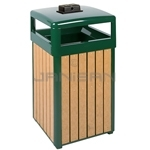 "Rubbermaid / United Receptacle R34HTWU50 Regent Series Hinged Top Waste Receptacle with Weather Urn - 29 Gallon Capacity - 21"" Sq. x 39"" H - Empire Green with Perma-Wood Cedar Slats"