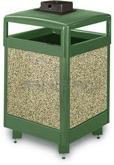 "Rubbermaid / United Receptacle R48HTWU Aspen Series Waste Receptacle with Hinged Top and Weather Urn - 48 Gallon Capacity - 26"" Sq. x 43"" H"