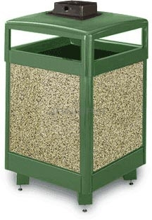 "Rubbermaid / United Receptacle R48HTWU Aspen Series Waste Receptacle with Hinged Top and Weather Urn - 48 Gallon Capacity - 26"" Sq. x 43\"" H"