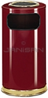 "Rubbermaid / United Receptacle SO16SU-10C European Designer Line Ash / Trash Can - 15 Gallon Capacity - 15"" Dia. x 36\"" H - Disposal Opening is 11\"" W x 5\"" H - Crimson Body with Brass Accents"