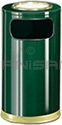 "Rubbermaid / United Receptacle SO16SU-10G European Designer Line Ash / Trash Can - 15 Gallon Capacity - 15"" Dia. x 36"" H - Disposal Opening is 11"" W x 5"" H - Empire Green with Brass Accents"