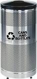 "Rubbermaid / United Receptacle Howard Classic S3SSG-BK 5"" Diameter Recycling Open Top - Stainless Steel Body / Black Top - Perforated Steel Waste Receptacle - 25 gallon capacity - 18"" Dia. x 35.5"" H"