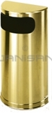 "Rubbermaid / United Receptacle SO8SBS Metallic Designer Line Half Round Waste Receptacle - Satin Brass Stainless Steel - 9 Gallon Capacity - 18"" W x 32"" H x 9"" D - Disposal Opening is 15"" W x 5"" H"