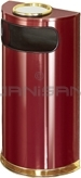 "Rubbermaid / United Receptacle SO8SU-10C European Designer Line Half Round Ash/Trash Receptacle - Crimson with Mirror Brass - 9 Gallon Capacity - 18"" W x 32"" H x 9"" D - Disposal Opening is 15"" W x 5"" H"