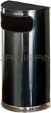 "Rubbermaid / United Receptacle SO8-20B European Designer Line Half Round Waste Receptacle - Black with Mirror Chrome - 9 Gallon Capacity - 18"" W x 32"" H x 9"" D - Disposal Opening is 15"" W x 5"" H"