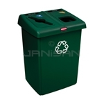 Rubbermaid 1792340 Two Stream Glutton® Recycling Station - 46 Gallon Capacity - Dark Green in Color