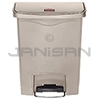 Rubbermaid 1883456 Slim Jim Plastic Front Step-On Receptacle - 8 Gallon Capacity - Beige in Color
