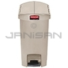 Rubbermaid 1883457 Slim Jim Plastic End Step-On Receptacle - 8 Gallon Capacity - Beige in Color