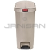 Rubbermaid 1883459 Slim Jim Plastic End Step-On Receptacle - 13 Gallon Capacity - Beige in Color