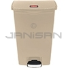 Rubbermaid 1883460 Slim Jim Plastic Front Step-On Receptacle - 18 Gallon Capacity - Beige in Color
