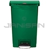 Rubbermaid 1883584 Slim Jim Plastic Front Step-On Receptacle - 13 Gallon Capacity - Green in Color