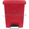 Rubbermaid 1883564 Slim Jim Plastic Front Step-On Receptacle - 8 Gallon Capacity - Red in Color
