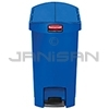 Rubbermaid 1883592 Slim Jim Plastic End Step-On Receptacle - 8 Gallon Capacity - Blue in Color
