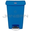 Rubbermaid 1883593 Slim Jim Plastic Front Step-On Receptacle - 13 Gallon Capacity - Blue in Color