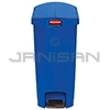 Rubbermaid 1883594 Slim Jim Plastic End Step-On Receptacle - 13 Gallon Capacity - Blue in Color