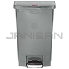 Rubbermaid 1883602 Slim Jim Plastic Front Step-On Receptacle - 13 Gallon Capacity - Gray in Color