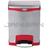 Rubbermaid 1901988 Slim Jim Front Step-On Receptacle - 8 Gallon Capacity - Stainless Steel and Red in Color